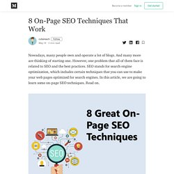 8 On-Page SEO Techniques That Work - cubereach - Medium