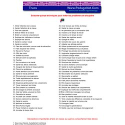 Soixante-quinze techniques pour éviter les problèmes de discipline