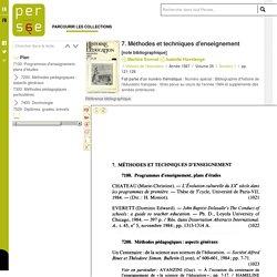 7. Méthodes et techniques d'enseignement