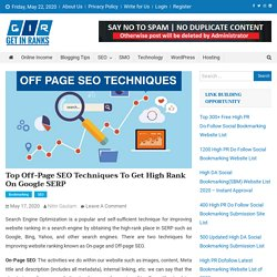 Top Off Page SEO Techniques to Improve Ranking on Google SERP
