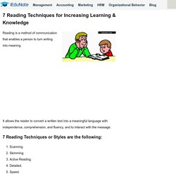 7 Reading Techniques for Increasing Learning & Knowledge