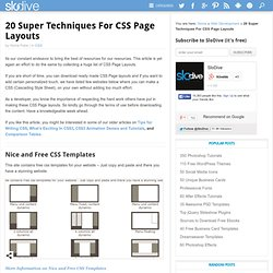 20 Super Techniques For CSS Page Layouts