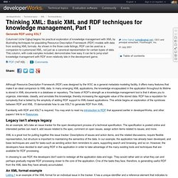Thinking XML: Basic XML and RDF techniques for knowledge management, Part 1