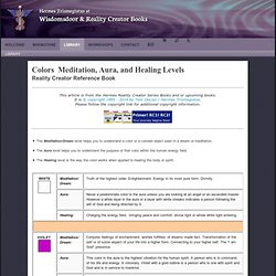 Techniques & Charts: Colors  Meditation, Aura, and Healing Levels