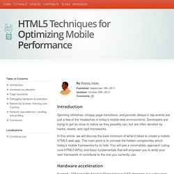 HTML5 Rocks - HTML5 Techniques for Optimizing Mobile Performance