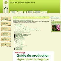 Fiches techniques production de plants maraichers bio