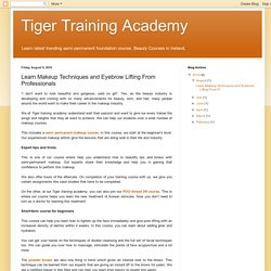 Tiger Training Academy: Learn Makeup Techniques and Eyebrow Lifting From Professionals