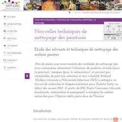 Nouvelles techniques de nettoyage des peintures - 3ATP.ORG : site pour la promotion du métier de restaurateur de tableaux