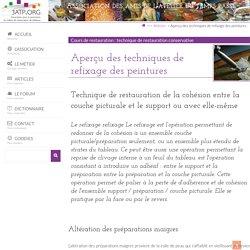 Aperçu des techniques de refixage des peintures - 3ATP.ORG : site pour la promotion du métier de restaurateur de tableaux