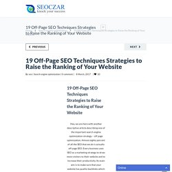 19 Off-Page SEO Techniques Strategies - A Complete Guide