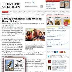 Reading Techniques Help Students Master Science
