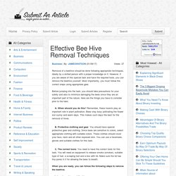Effective Bee Hive Removal Techniques