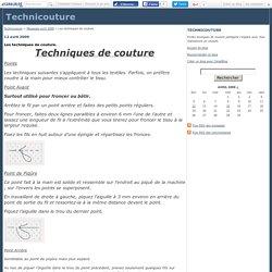 Les techniques de couture. - Technicouture