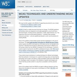 WCAG Techniques and Understanding WCAG Updates - W3C Blog