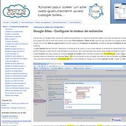 Google Sites - Configurer le moteur de recherche - Tutoriels Google Sites par TechnoConseil - Créer un site web gratuitement