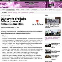 Lettre ouverte à Philippine Dolbeau, lycéenne et technocrate sécuritaire - IAATA