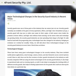 Major Technological Changes in the Security Guard Industry in Recent Times