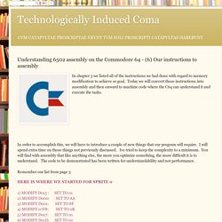 Technologically Induced Coma: Understanding 6502 assembly on the Commodore 64 - (6) Our instructions to assembly