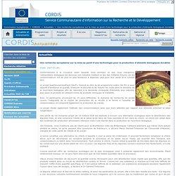 INDUSTRIE 3000 - Une recherche européenne sur la mise au point d'une technologie pour la production d'aliments biologiques durab