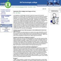 SII-Technologie collège - Impression 3D au collège Louis Aragon de Torcy
