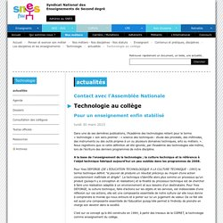 Technologie au collège - SNES