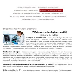 EPI SCIENCES TECHNOLOGIE et SOCIETE - EDUCATION NATIONALE