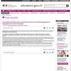 Le ministère de l'Éducation nationale en avance sur la technologie pour la réalisation du manuel numérique