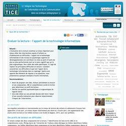L'Agence nationale des Usages des TICE - Evaluer la lecture : l'apport de la technologie informatisée