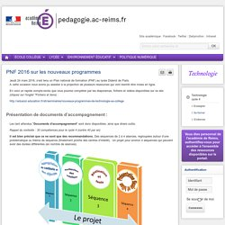 Se former Technologie cycle 4 - PNF 2016 sur les nouveaux programmes