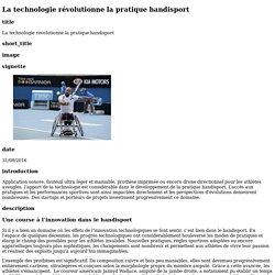 La technologie révolutionne la pratique handisport