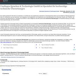 Unalingua Sprachen & Technologie GmbH ist Spezialist für hochwertige technische Übersetzungen