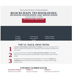 Sloan Blockchain Technologies: Business Innovation and Application online program