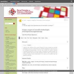 Usages, usagers et nouvelles technologies d'enseignement/apprentissage
