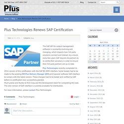 Plus Technologies Renews SAP Certification