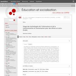 Usage des technologies de l'information et de la communication et humanisation pour des élèves en soins-études