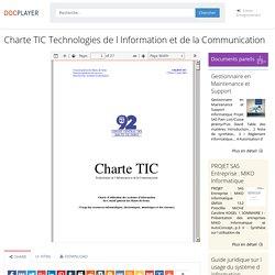 ⭐Charte TIC Technologies de l Information et de la Communication