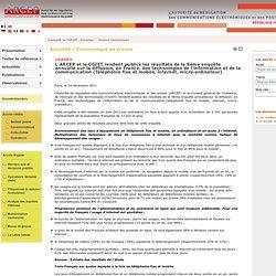 L'ARCEP et le CGIET rendent publics les résultats de la 9ème enquête annuelle sur la diffusion, en France, des technologies de l'information et de la communication (téléphonie fixe et mobile, internet, micro-ordinateur)