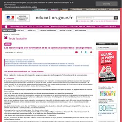 Les technologies de l'information et de la communication dans l'enseignement