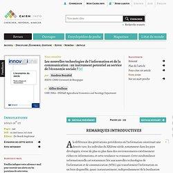 Les nouvelles technologies de l'information et de la communication: un instrument potentiel au service de l'économie sociale?