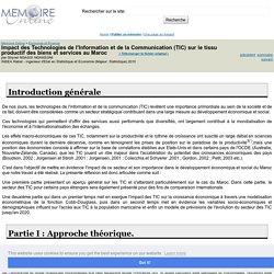 Impact des Technologies de l'Information et de la Communication (TIC) sur le tissu productif des biens et services au Maroc - Ghynel NGASSI NGAKEGNI