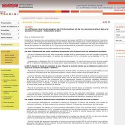 La diffusion des technologies de l'information et de la communication dans la société français - Résultats 2013