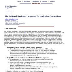 The Cultural Heritage Language Technologies Consortium