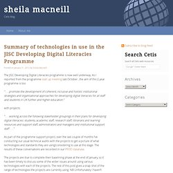 Summary of technologies in use in the JISC Developing Digital Literacies Programme