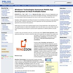 Windzoon Technologies Announces Mobile App Development At Most Profitable Rates