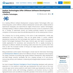SaaSnic Technologies Offer Offshore Software Development Solutions: Business Press Releases
