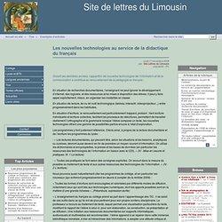 Les nouvelles technologies au service de la didactique du français - Site de lettres du Limousin