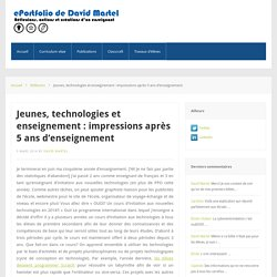 ePortfolio de David Martel – Jeunes, technologies et enseignement : impressions après 5 ans d'enseignement