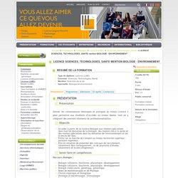 LICENCE SCIENCES, TECHNOLOGIES, SANTE mention BIOLOGIE - ENVIRONNEMENT - Le site internet de l'université de Nîmes