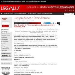 Cour de justice de l'Union européenne, 2ème ch., arrêt du 8 septembre 2016