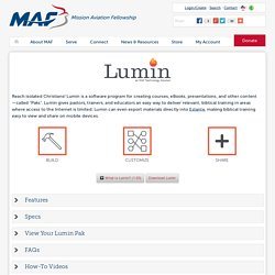 Lumin - Software from MAF-Learning Technologies - Mission Aviation Fellowship